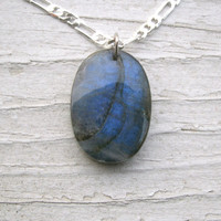 BLUE FLASH LABRADORITE Pendant Necklace - deep and beautiful blue!!  Labradorite necklace,gift for her, Sterling Silver 925 Figaro Chain