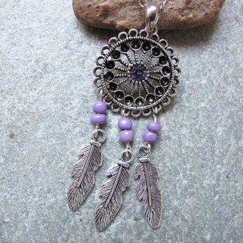 Antique Silver Dream Catcher Necklace , Feather Necklace,Purple Beads Necklace ,Native American Jewelry