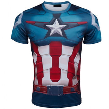 2016 Marvel Super Heroes top short sleeve fashion men fitness t shirt round neck print 21 styles  t-shirt men