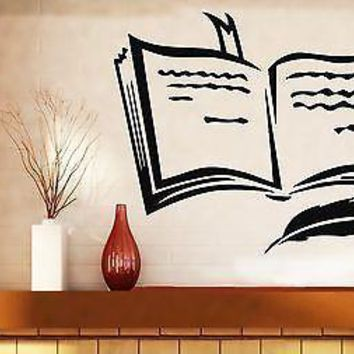 Wall Sticker Vinyl Decal Book Pen Poetry Prose Training Bookmark Unique Gift (n290)