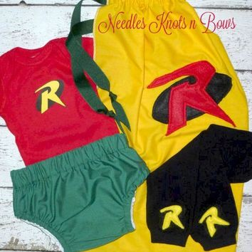 Boys Robin Costume, Baby Boys Robin Coming Home Outfit, Newborns, Infants, Toddlers Halloween Superhero Costume