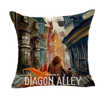 Harry Series Potter Welcome To Diagon Valley Design Massager Pillow Decorative Vintage Pillows  Cover Home Decor Gift