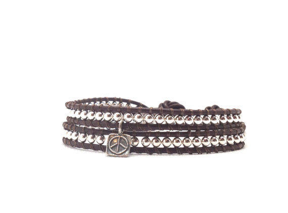Leather Wrap Bracelet, Sterling Silver with Peace Charm