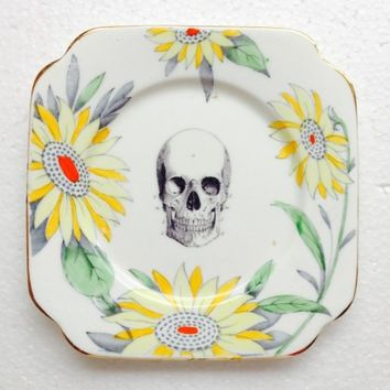 Square Black Skull Plate With Yellow Flowers For Wall Display Plate Collage