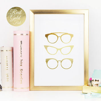Real Gold Foil Print, Geek Glasses Print, Gold Foil Poster, Fashion Print, Glasses Poster, Glamour Decor, Hipster Print, Retro Home Decor,