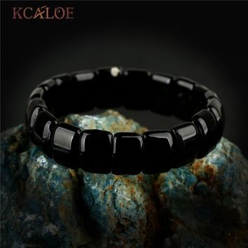 KCALOE Vintage Jewelry Black Onyx Chakra Bracelet For Women Men Square Natural Stone Yoga Charms Bracelets & Bangles Pulsera