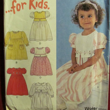 SALE Uncut Simplicity New Look Sewing Pattern, 6136! 1/2-1-2-3-4 Infant/Toddler Dresses/Pullover Long Dress/Short & Long Sleeves/Summer/Spri