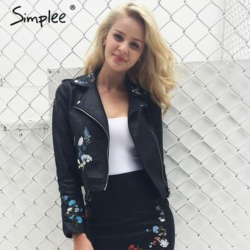 Simplee Embroidery faux leather coat Motorcycle zipper jacket