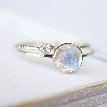 Rainbow Moonstone Ring Set, Moissanite Ring Set, Diamond Ring, Engagement Ring, Wedding Band, White Gold Ring, 14k Gold Ring, Stacking Rings