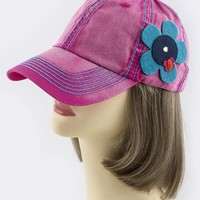 FELT FLORAL ORNATE ACCENT BASEBALL CAP