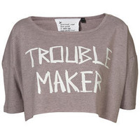 Trouble Maker Crop By Tee And Cake - Jersey Tops  - Apparel  - Topshop USA
