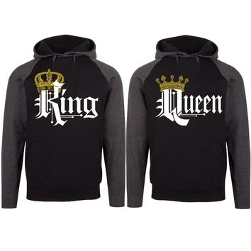 Royal King and Queen Two-tone Black / Charcoal Raglan Hoodie