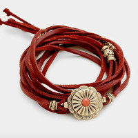 Leather Wrap Bracelet - Red