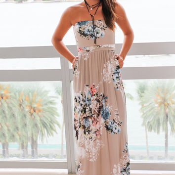 Stone Floral Strapless Maxi Dress