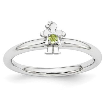 Rhodium Plated Sterling Silver Stackable Peridot 7mm Girl Ring