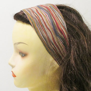 Reversible Wide Fabric Headband Woodland Striped Head Band Womens Headband