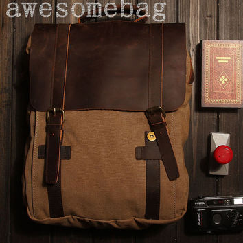 Khaki Genuine Cow leather bag canvas bag BACKPACK  Leather Briefcase / leather  Messenger bag / Laptop bag / Men's leather canvas Bag(1820)