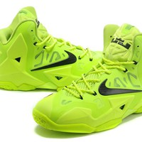 "Nike Lebron 11    ""Fluorescent Green / Black""  Basketball Shoes"