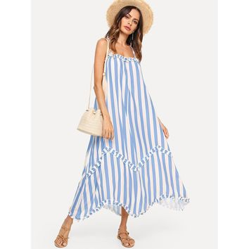 Frill Trim Striped Cami Dress
