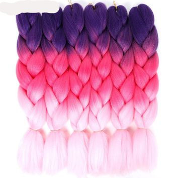 24'' 100g/pc Synthetic Ombre Kanekalon Braiding Hair Crochet Braids Hairstyles Hair Extensions Purple Pink