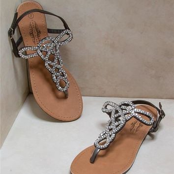Beaded Cut Out Gladiator Sandals