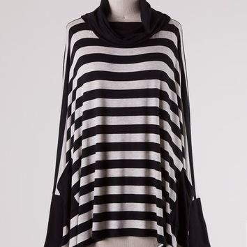Black Striped Cowl Neck Tunic