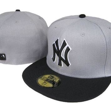 hcxx New York Yankees New Era MLB Authentic Collection 59FIFTY Caps Grey-Black