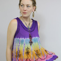 SALE - 90s - Boho - Purple - Rainbow Tie Dye - Floral Embroidered - Tent Tank Top