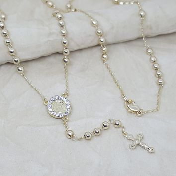 """1-3327-h2 Gold Plated Rosary Necklace. Guadalupe, 24"""", 4mm"""