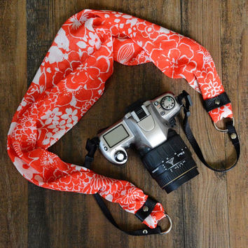 Scarf Camera Strap - Red Tropical Floral - dSLR Camera Strap