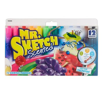 12 Pcs/lot Water-Based Scented Markers Chisel Tip Assorted Colors