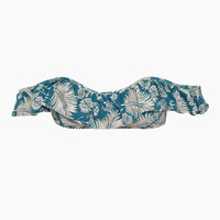 Tajo Ruffle Off The Shoulder Bandeau Bikini Top - Caribbean Blue Tropical Print