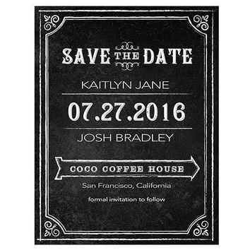 Save the Date Card with Chalkboard Print Design Daiquiri Green (Pack of 1)