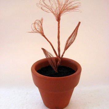 Copper wire flower with bud in a small terra cotta pot - A great gift for her.