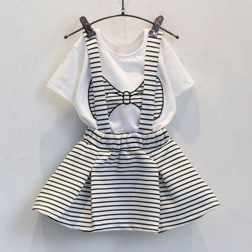 Girls Bow Shir t+ Suspenders Skirt Cute Outfit