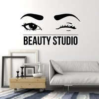 Vinyl Wall Decal Beauty Studio Beautiful Wink Eyes Salon Art Stickers Mural Unique Gift (ig5121)