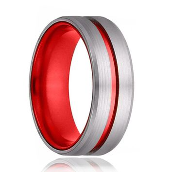 Scarlet Red Grooved Tungsten Ring Beveled Edges Men's Wedding Band - 8mm