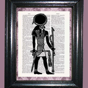 Egyptian Sun God Art - Vintage Dictionary Book Page Art Upcycled Page Art Mixed Media Art Egyptian Print