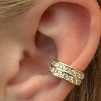 Channel Set Ear Cuff- Two Rows - Gold Vermeil - SINGLE SIDE