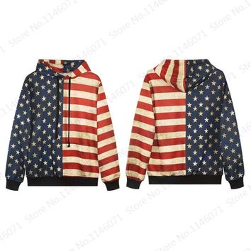 Split USA Flag Hooded Sweatshirts Red Stripes Blue Star Skateboard Hoodies Retro Men Autumn Hip Hop Pullover Jackets Vintage