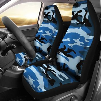 Blue Camouflage Design Seat Covers