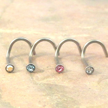 Crystal Nose Corkscrew Stud Nose Ring