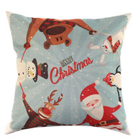 Christmas Symbols Embroidery Cushion Cover