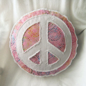 Peace sign pillow, pink batik and distressed bright white denim round boho pillow