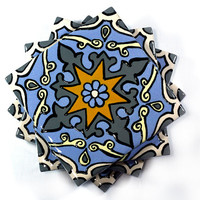 "Gray, Blue & Yellow Talavera Style Coasters/ Talavera Tiles -- ""Tiffany"" -- Set of Four"