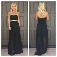 Belle Of The Ball Sequin Maxi Dress - BLACK