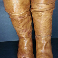 Frye 77580 Tan Leather Mid Calf Slouch Cowboy Boots Women's Size 9.5