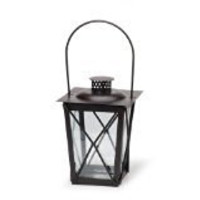Tapered Black Metal Candle Lantern: 5.71 x 5.71 x 8.27 inches