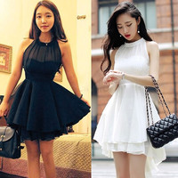 2017 New Fashion High waist Dress sleeveless Lolita Women sexy Cute Chiffon Dresses Peplum Party Dre