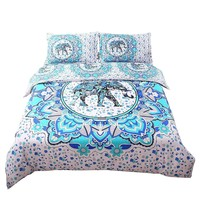 Bohemian Blue Elephant Tapestry Duvet Bedding Set